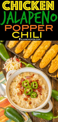 Chicken Jalapeño Popper Chili the BEST of the BEST chicken chilis SO good and ready to eat in under 20 minutes Rotisserie chicken bacon white beans jalapeñ. Plain Chicken Recipe, Chicken Soup Recipes, Crockpot Recipes, Chicken Bacon, Cooking Recipes, Chicken Jalapeno, Jalapeno Chili, Cooking Games, Keto Chicken
