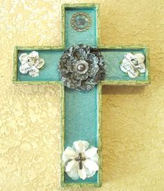 Wooden Cross Medium Sized Wall Hanging Turquoise by AccentsByAmy, $28.00