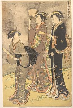 Three Young Women Strolling on the Bank of the Sumida River  Torii Kiyonaga  (Japanese, 1742–1815)  Period: Edo period (1615–1868) Culture: Japan Medium: Polychrome woodblock print; ink and color on paper