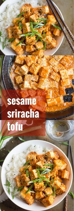 Tofu cubes are pan-fried in sesame oil, and then drenched in maple-tahini-sriracha sauce to make this scrumptious vegan meal that comes together in minutes. #vegan #veganfood #veganrecipes #vegetarian #vegetarianrecipes #meatlessmonday #heatlhyrecipes #tofu
