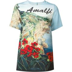 Dolce & Gabbana Amalfi print T-shirt (6.291.335 IDR) ❤ liked on Polyvore featuring tops, t-shirts, blue, silk tee, pattern tees, short sleeve tee, multi color t shirts and blue top