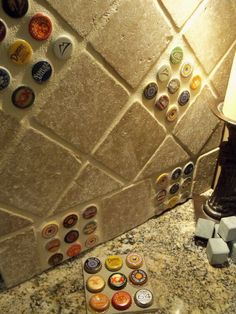 Bottlecap backsplash tile. Basement bar!