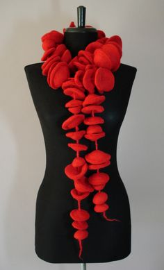 Three dimensional felt scarves individually handmade in Scotland from 100% Merino wool '