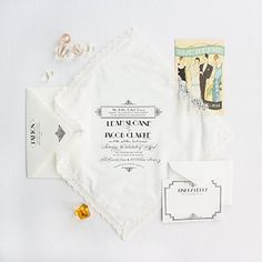 Gatsby handkerchief art deco wedding invitation by Lucky Luxe Couture Correspondence