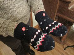 The DIY Sweater Mitten Making Mansion and Tutorial: A Blast From the Past: 2012   The Renegade Seamstress Renegade Seamstress, Work Boot Socks, Sweater Mittens, Knit Sneakers, Cool Sweaters, Some Pictures, Refashion, Sewing Projects, Applique