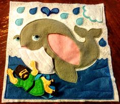 Put together this colorful interactive felt page with a step-by-step picture tutorial. Children can have the whale swallow and spit out Jonah.