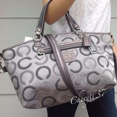 COACH Large Signature Silver Gray Op Art Leather Handbag Purse Bag Tote New Nwt