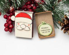 Christmas Card - Funny Fat Santa / Holiday Card/ New Year Card Matchbox/ Small Gift box/ Merry Christmas Ho Ho Ho