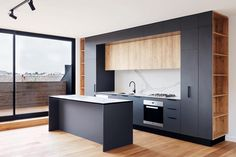 Designed by Fieldwork Architects Shirley Lane Armadale // Kitchen Detail. Designed by Fieldwork Architects Built by Mancini Made. Developed by Everly Projects – Mobilie Luxury Kitchen Design, Interior Design Living Room, Black Kitchens, Luxury Kitchens, Küchen Design, House Design, Design Ideas, Urban Design, Contemporary Decor