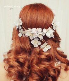hair flowers wreath hydrangea