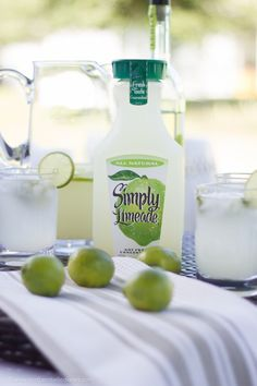 Be ready for guests this summer. Here's a simple Caipirinha recipe for the adults, and for the kids, simply serve Simply Limeade with a like wheel as a garnish! #summer #cocktail #ad
