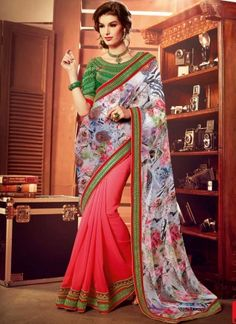 Digital Print With Pink With Patch Border Designer Saree