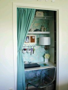 Small closet made into an office.