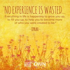 """""""No experience is wasted."""" (Some days I really hold on to this truth.)"""