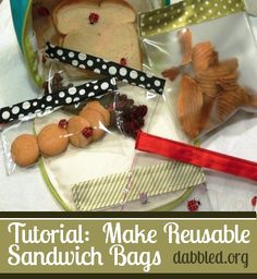 """DIY Reusable Sandwich bags and save a TON of $$!!  Tutorial is EASY! FYI, if you don't want to use """"Plastic"""" use Fabric!"""