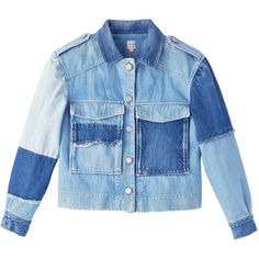 La Vie Patched Denim Jacket ($375) ❤ liked on Polyvore featuring outerwear, jackets, oversized jackets, patch jacket, blue jackets, blue jean jacket and denim jacket