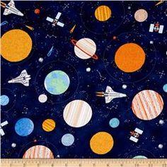 Timeless Treasures Astronauts Planets Navy