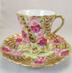 Nippon Footed Cup  Saucer with Plush Roses  Gold