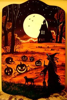 Original ooak hp halloween painting ryta jol black cat witch haunted house art