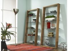 modern shelving, wooden shelves