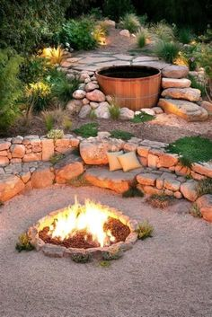 Most Popular DIY Backyard Design With Fire Pit Ideas You Need To Try – The fire pit does not have to be circular. This fire pit is slightly wider.