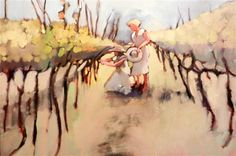 """Original art for sale at UGallery.com   Vineyard by Mary Pratt   $1,525   oil painting   24"""" h x 36"""" w   http://www.ugallery.com/oil-painting-vineyard-24416"""