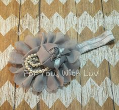 Infant /Toddler Grey / Silver flower headband with pearl and ribbon embellishments. Flower girl accessory, hair accessory.