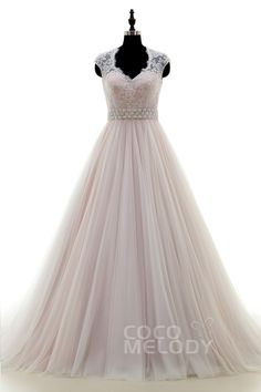Classic+A-Line+V-neck+Court+Train+Tulle+Ivory/Pink+Sleeveless+Wedding+Dress+Sashes+LWWT15019