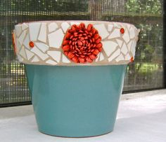 Turquoise Clay Pot with Mosaic Rim. $23.50, via Etsy.