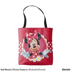 Red Minnie | Flower Frame Tote Bag Disney Tote Bags, Flower Frame, Edge Design, Cosmetic Bag, Pouch, Reusable Tote Bags, Sewing, Classic, Minnie Mouse