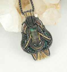 wire wrapped jewelry, WrapsAndHats Pendants