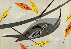 """Charles Harper - Brown Creeper  Illustration for Ford Times, November 1954 published by The Ford Motor Company. From the article """"Feeding Station Birds""""."""