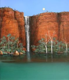 Ingrid Windram - Wet Season Waterfall - Kimberley - Silver Moon - Painting
