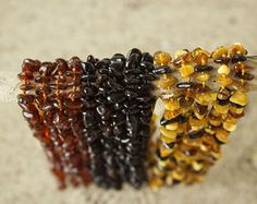 polished Baltic Amber baby necklace made from shiny polished amber beads