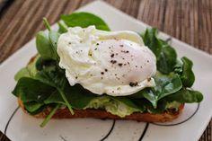 Poached Egg with Avocado Feta Smash and Spinach on Sour Dough