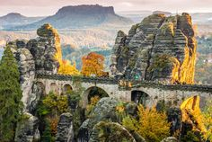 Saxon Switzerland National Park, also called Elbe Sandstone Mountains or Elbsandsteingebirge, is an area of outstanding natural… Places To Travel, Places To See, Travel Destinations, Formations Rocheuses, People Of Interest, Parc National, Filming Locations, Cool Landscapes, Germany Travel