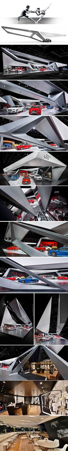Audi Paris 2014 Schmidhuber exhibition design - Cars and motor Exhibition Stall, Exhibition Stand Design, Exhibition Display, Kiosk Design, Display Design, Set Design, Allroad Audi, Trade Show Design, Interior Fit Out