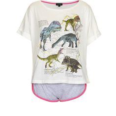 TOPSHOP Dinosaur Print Pj Set ($23) ❤ liked on Polyvore featuring intimates, sleepwear, pajamas, pijamas, pyjamas, shirts, cream, topshop pyjamas, cotton pyjamas and cotton pjs