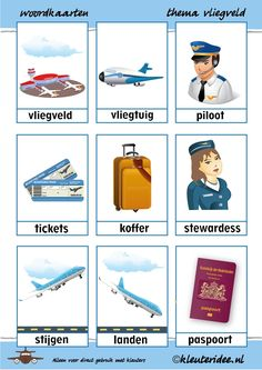 Word cards with theme airport - Thema op reis - taktak decor Teaching Kids, Kids Learning, Glenn Doman, Learn Dutch, Dutch Language, Transportation Theme, School Items, Dramatic Play, Pre School