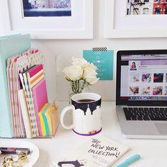 Cute desk laptop coffee