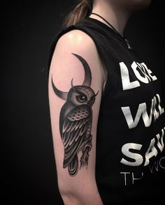 Black and grey owl tattoo by Nate Fierro