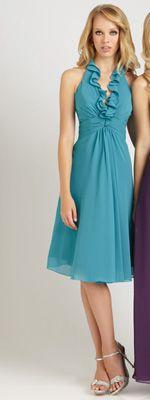 Oasis Chiffon Ruffled Halter Empire Waist Short Dress
