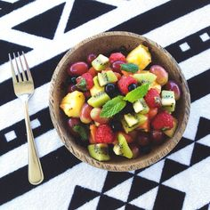 makehealthychoices:  nourish—yourself:  Yummmm!!! Best fruit salad! Pineapple + watermelon + grapes + kiwi fruit + blueberries + raspberries + passion fruit + torn mint leaves + fresh lime juice + coconut sugar. Delish!!