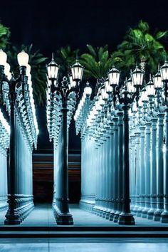 Lampposts in front of Los Angeles County Museum of Art, LA, CA