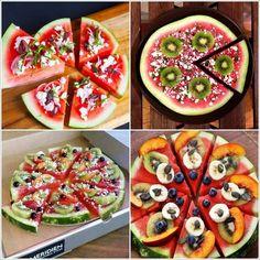 Varieties of watermelon pizza - Fruit - Fruit Watermelon Fruit Pizza, Fruit Pizza Cups, Fruit Pizza Frosting, Fruit Salad, Watermelon Varieties, Fruit Fruit, Fruit Recipes, Appetizer Recipes, Appetizers
