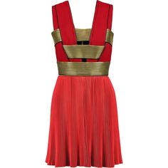 Balmain Paneled plissé silk and chiffon mini dress ($2,680) ❤ liked on Polyvore featuring dresses, red, chiffon cocktail dress, silk dress, silk jersey, red mini dress i chiffon mini dress