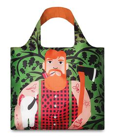 Look at this Green & Orange Lumberjack Tote on #zulily today!