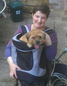 Indy being carried in the Trixie Timon Rucksack