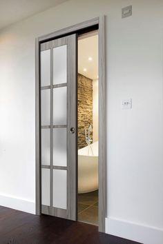 French Pocket Doors, Pocket Door Frame, Glass Pocket Doors, Sliding Pocket Doors, Bathroom Pocket Door, Glass Bathroom Door, Internal Sliding Doors, Frosted Glass Door, Wood Glass Door