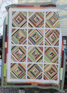 Greens and Jeans | fall colors string quilt